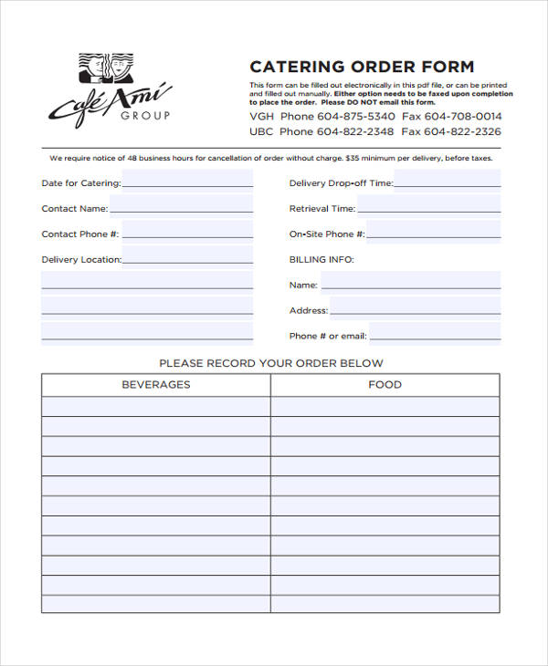 free 11  catering order forms in pdf