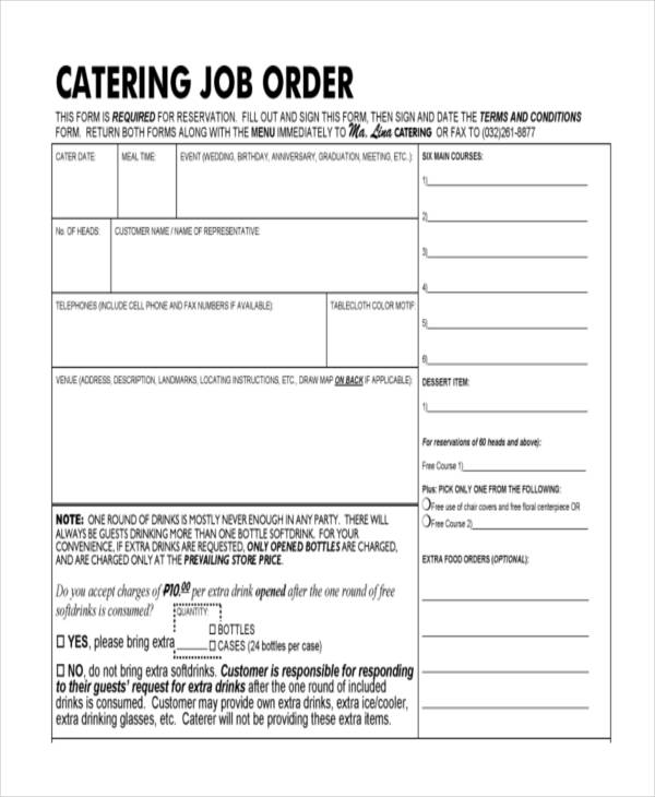 catering job order form