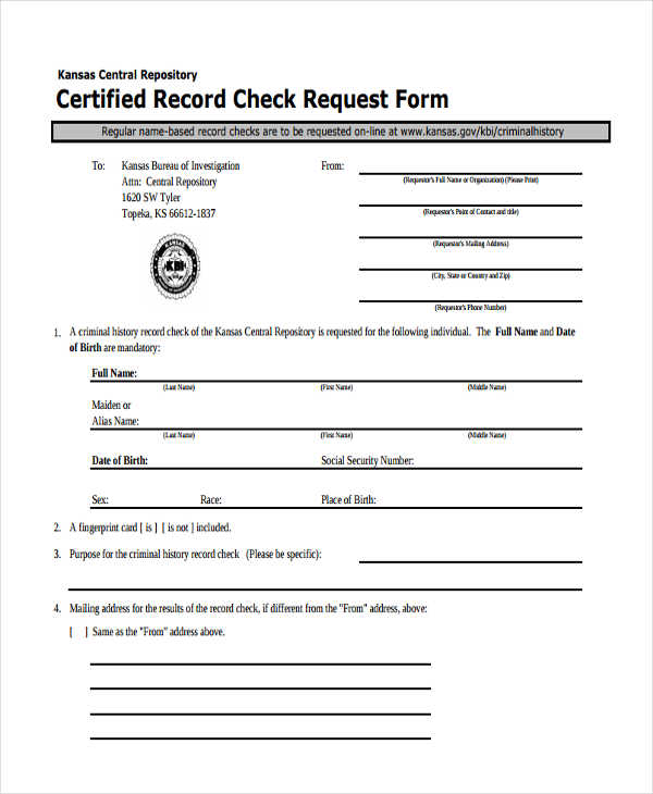 certified record check request2