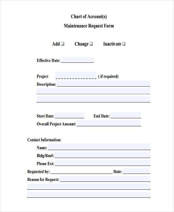 chart accounts maintenance
