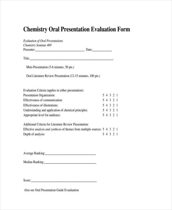 chemistry oral evalution
