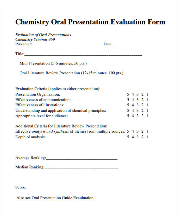 Printable Presentation Evaluation Forms