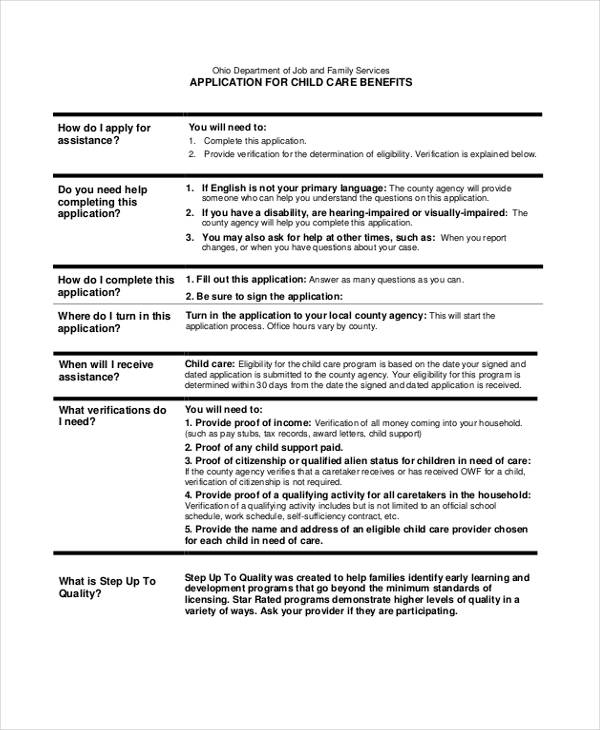 Sample Child Care Application Form 9 Free Documents In Word Pdf