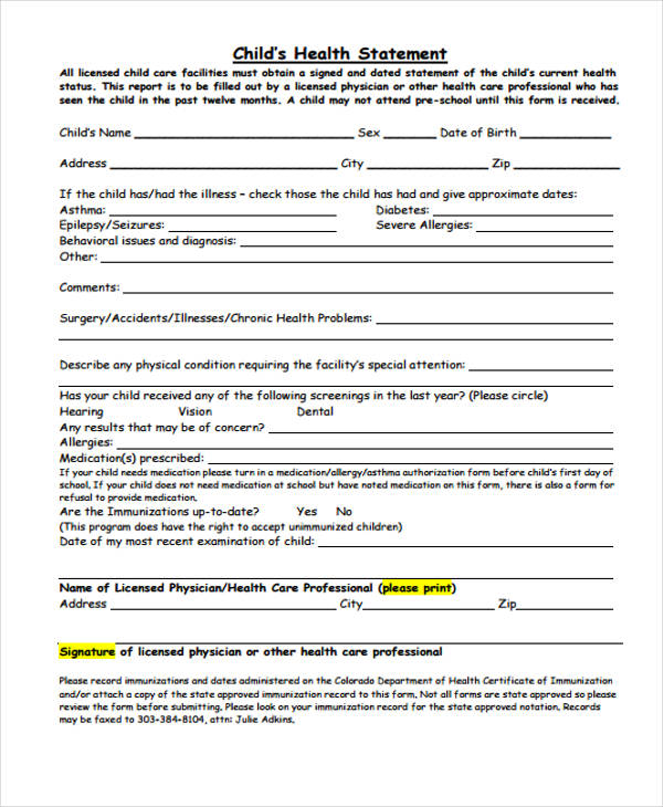 child care health statement form