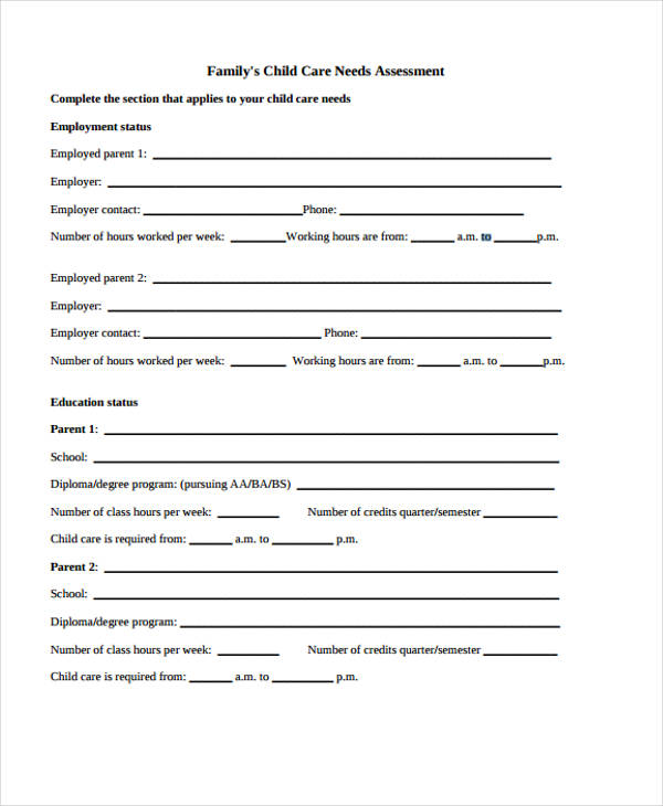 child care needs assessment form