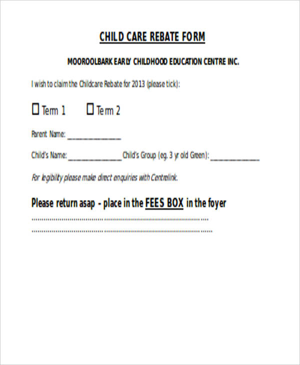 child care rebate application form