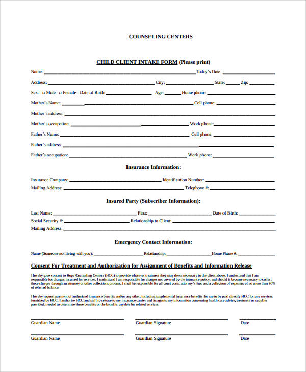 child counseling intake form