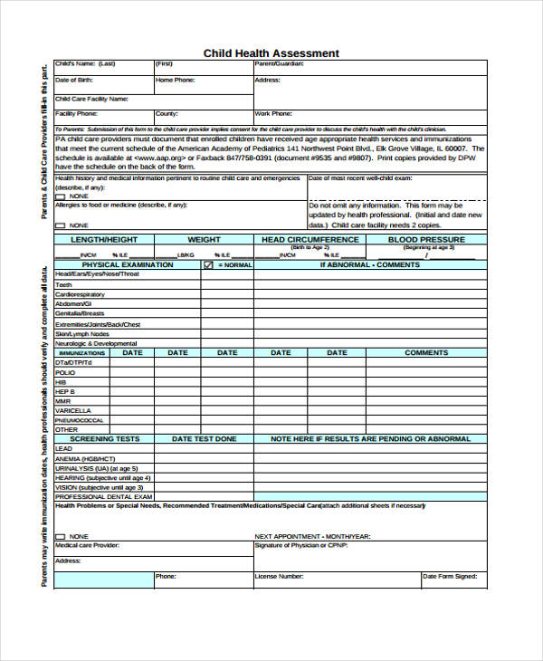 child development center health assessment form1