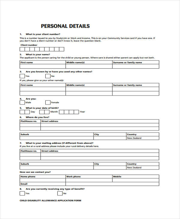 Disability Allowance Application Form  Free Sample Example