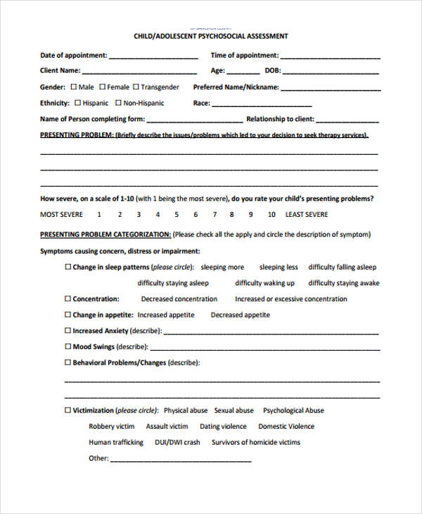 child mental health assessment form