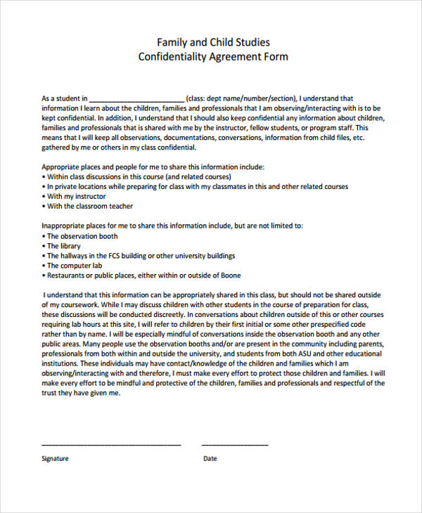 Confidentiality Agreement Form Template  Free Documents In Pdf