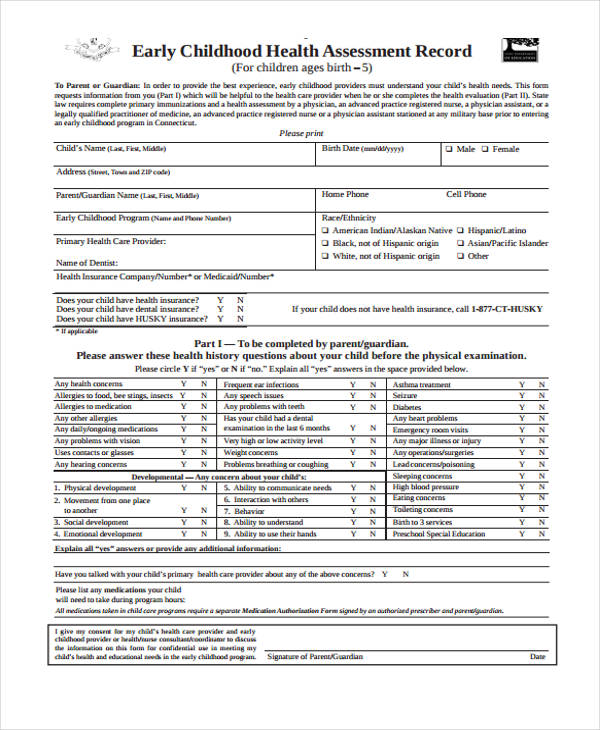 childhood health assessment record form