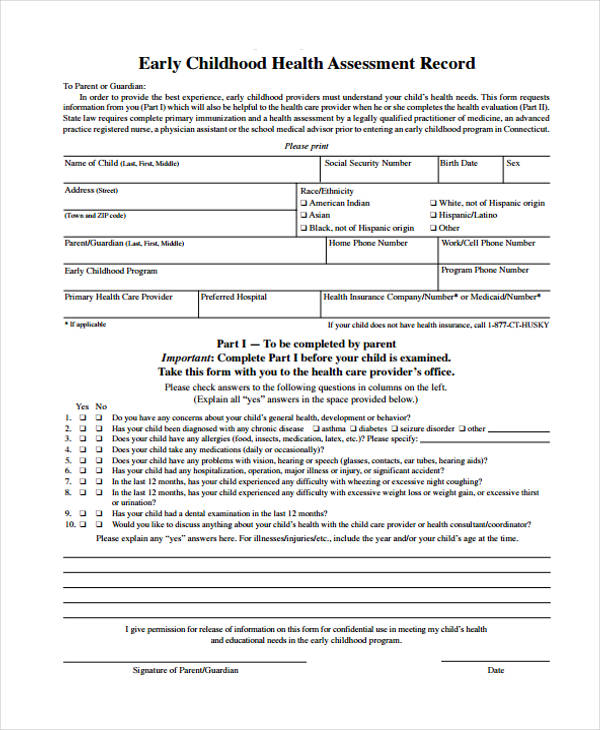 childhood health assessment record form1