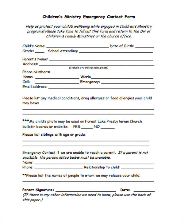 children emergency contact form