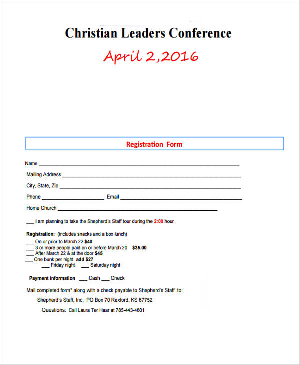 christian leaders conference registration form