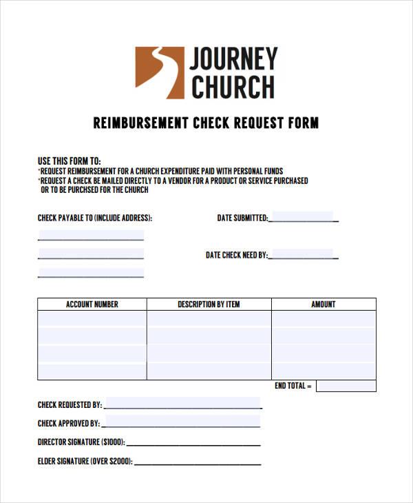 church check reimbursement