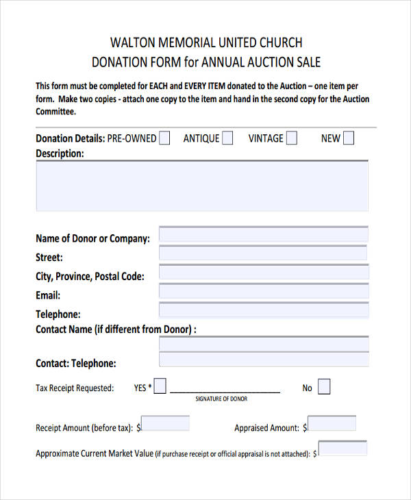 11 Donation Receipt Form Sample Free Sample Example