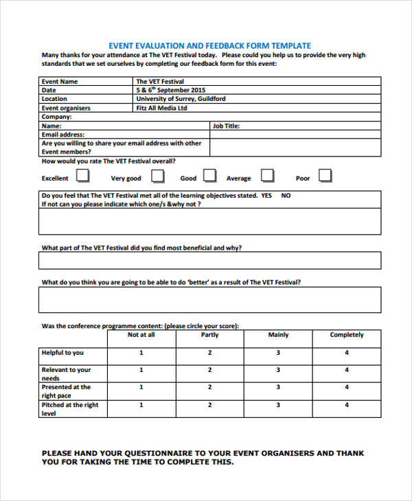 30 different types of feedback forms in pdf for Conference survey template