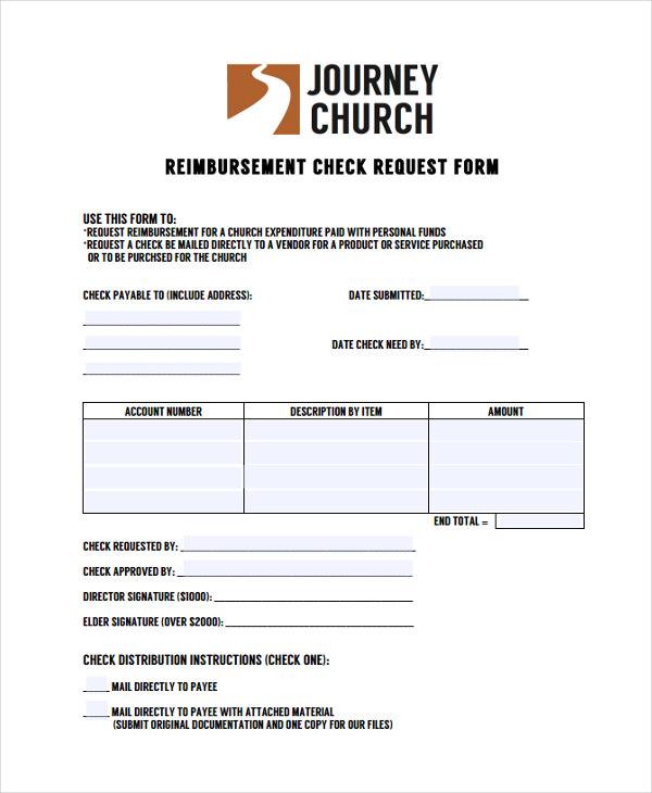 church reimbursement request