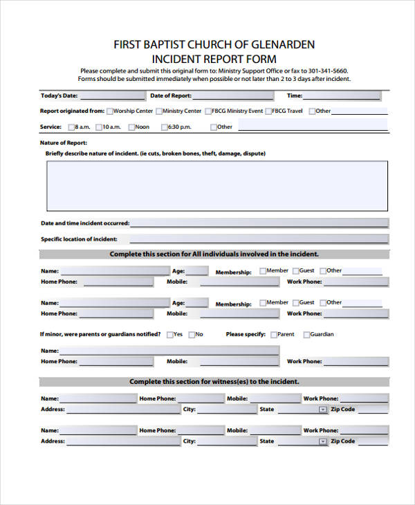 church security incident report form
