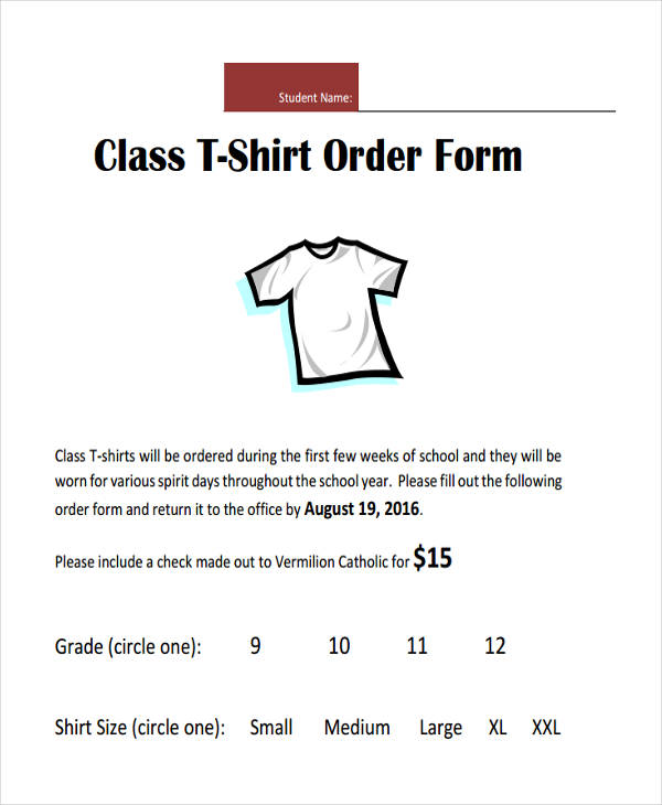 class t shirt order