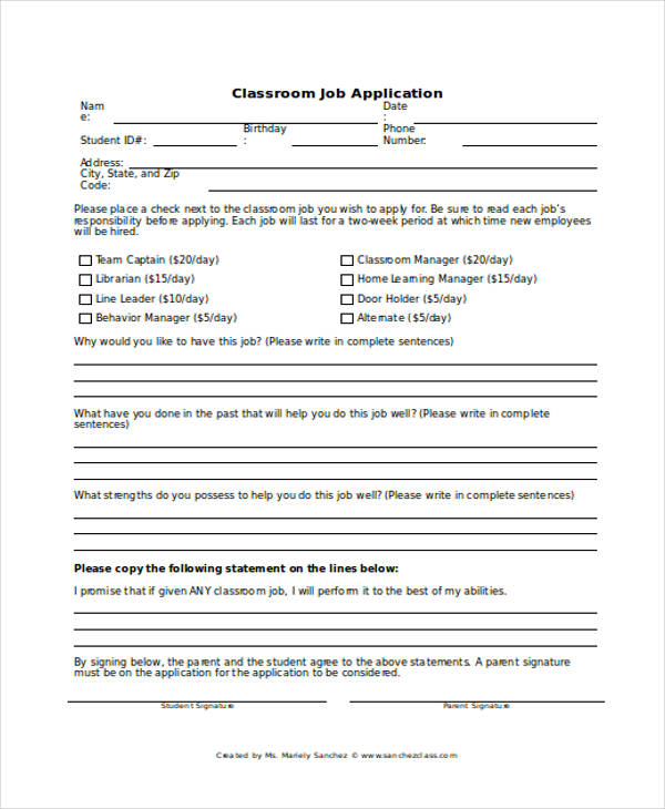classroom student job application form