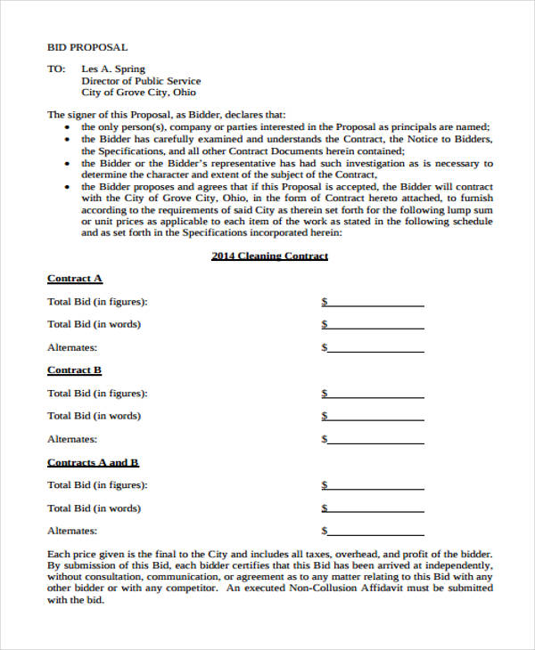 cleaning proposal bid form in pdf