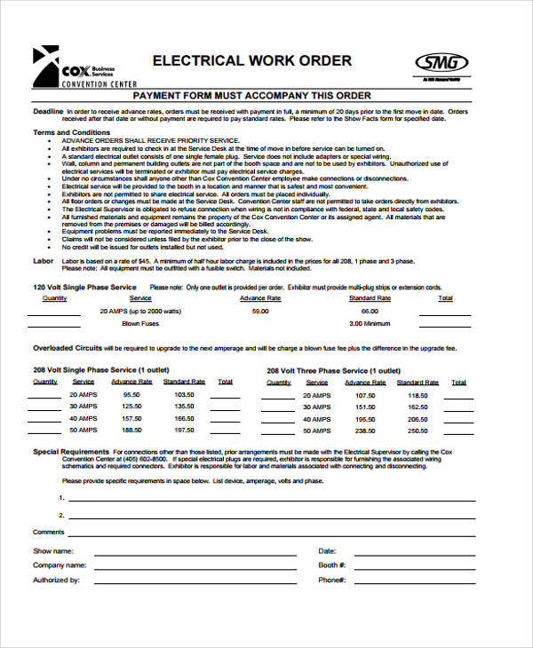 cleaning service work order form