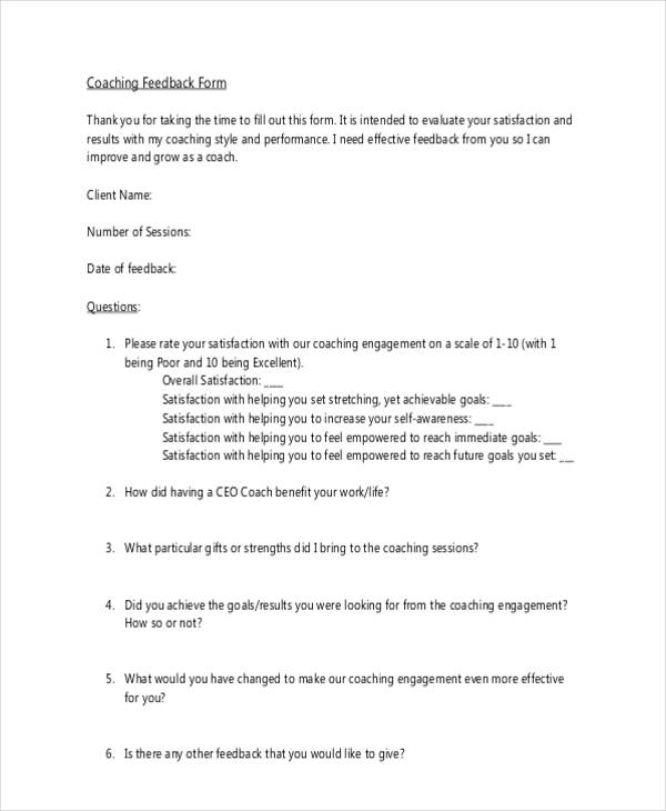 10 Different Feedback Forms For Coaching