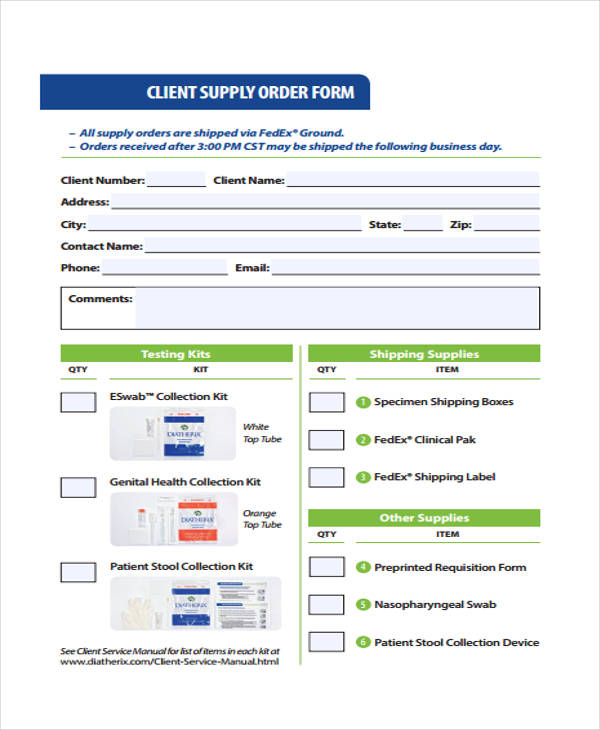 client service supply order form