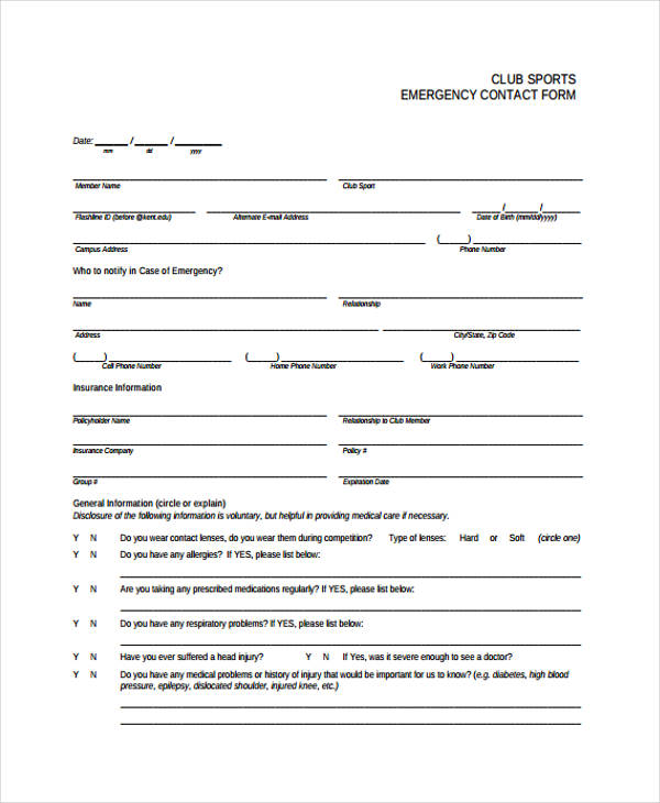 Club Sports Emergency Contact Form