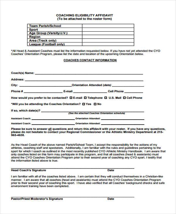 coaching eligibility affidavit