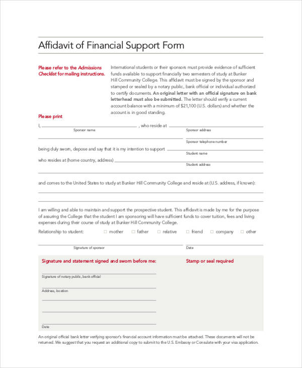 college affidavit support form example