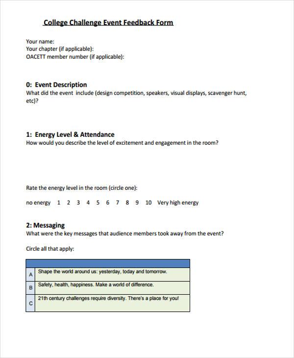 college challenge event feedback form