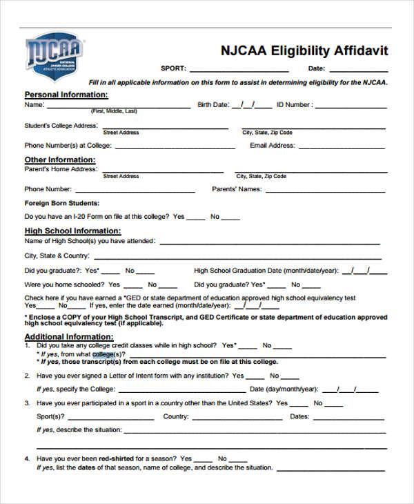 college eligibility affidavit
