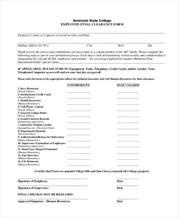 college employee final clearance form