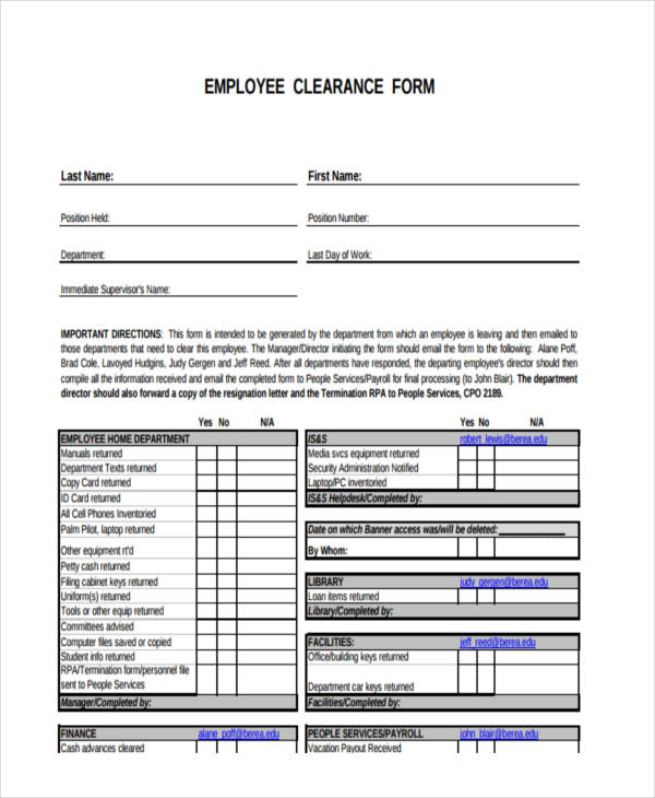 Blank Employee Loan Clearance Form