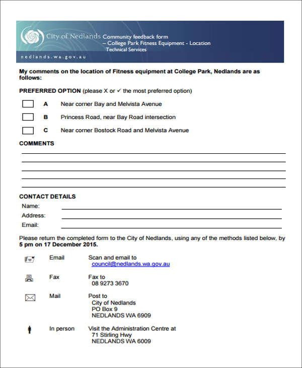 6+ Fitness Feedback Form Sample - Free Sample, Example Format Download