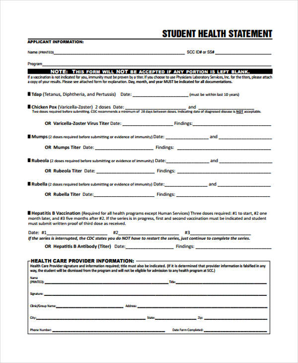 Health Statement Form Samples  Free Samples Examples Format