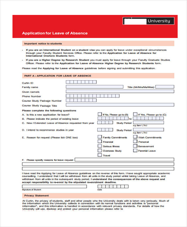 college student leave application form1