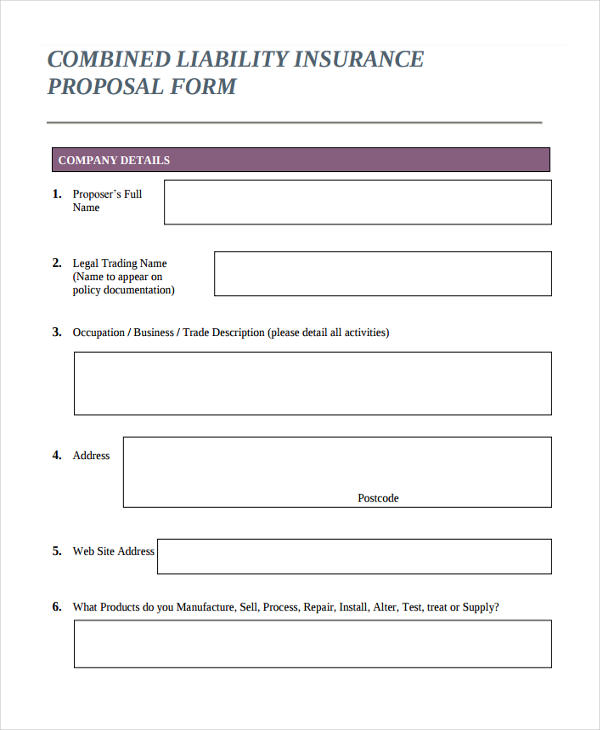 Insurance Proposal Form In Pdf