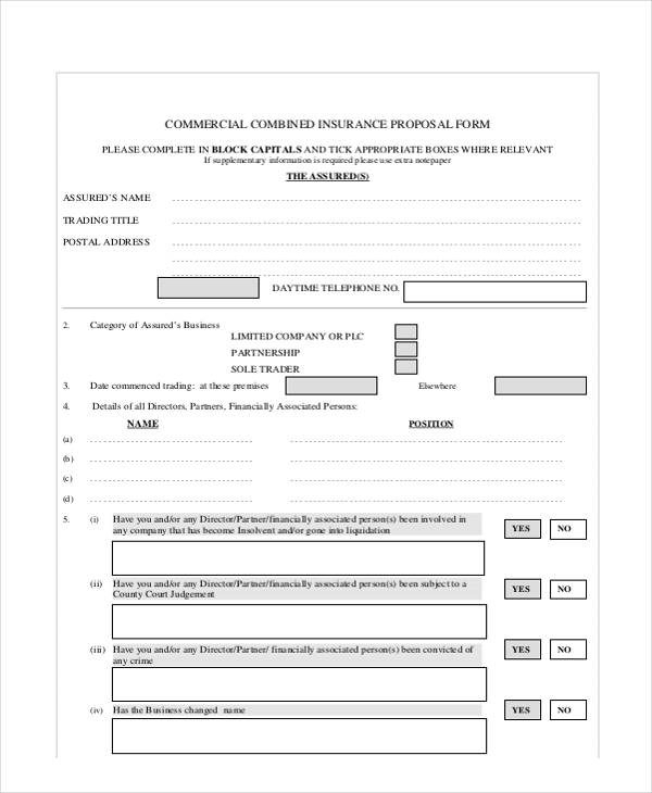 commercial combind insurance form