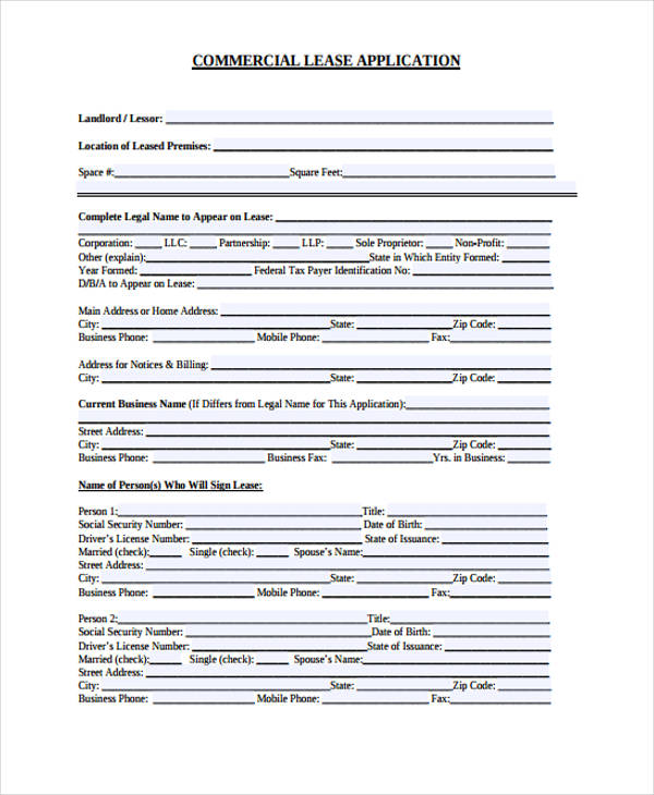 Sample Lease Application Form