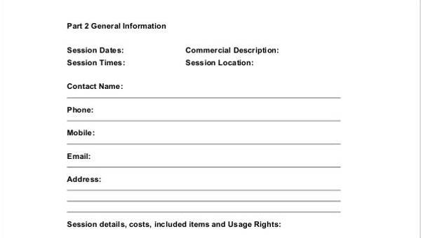 10 Photography Contract Form Sample Free Sample Example Format