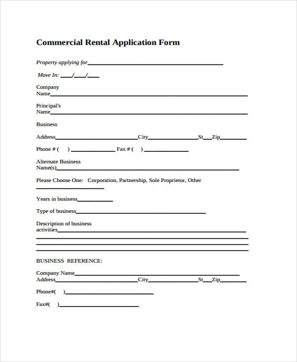 commercial property rental application form