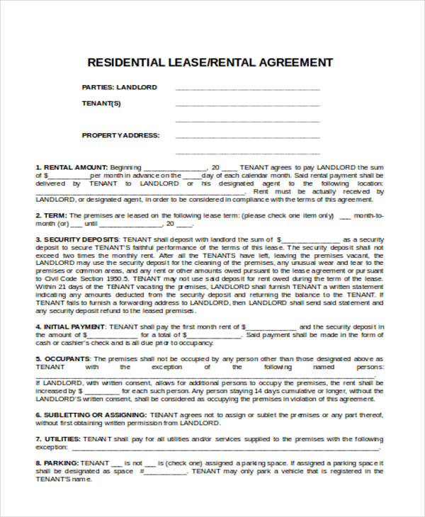 commercial rental agreement form