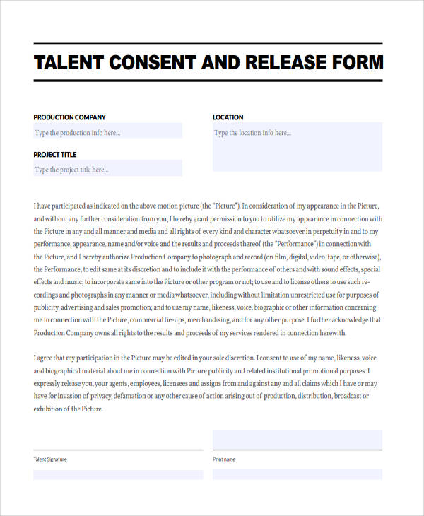 commercial talent release form