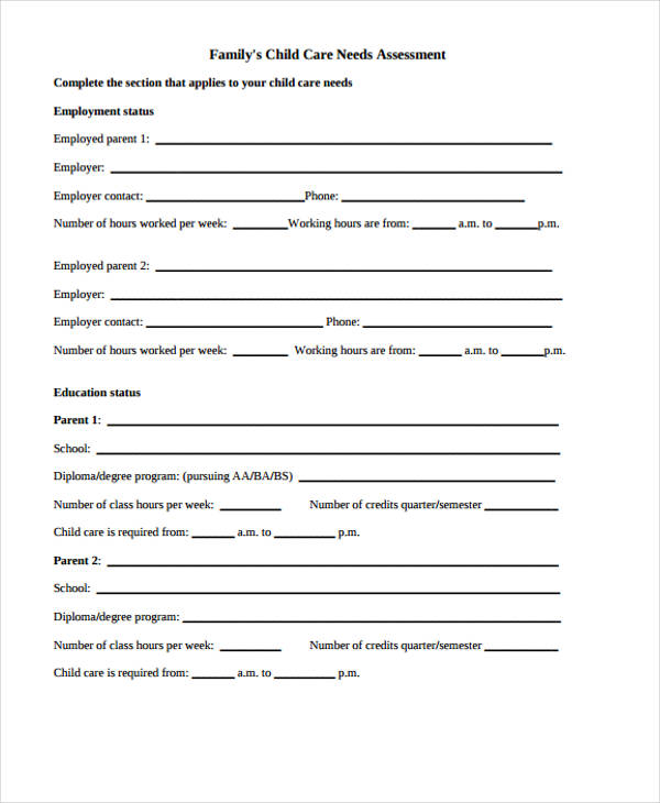 community care needs assessment form