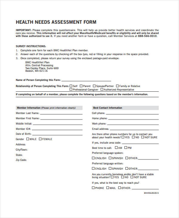 community health needs assessment form