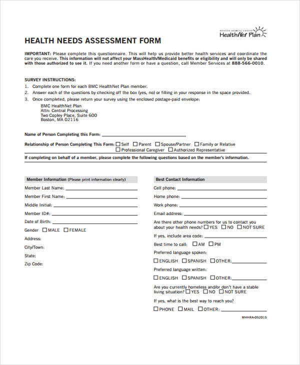 Needs Assessment Forms In Pdf